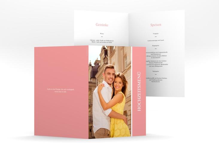 "Menükarte Hochzeit ""Classic"" DIN A5 geklappt rosa"
