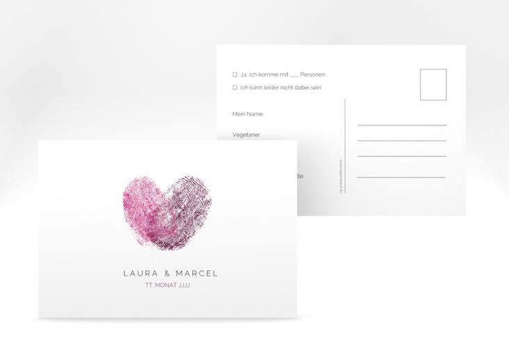 """Antwortkarte Hochzeit """"Fingerprint"""" A6 Postkarte pink"""