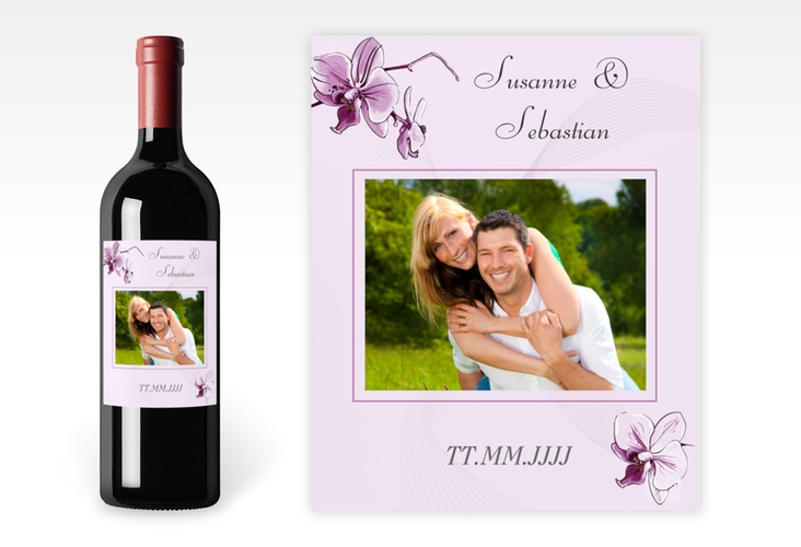 """Weinflaschenetikett Hochzeit """"Modena"""" Etikett Weinflasche 4er Set lila"""
