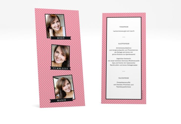 """Menükarte Geburtstag """"Polkadots"""" DIN lang hoch rosa"""