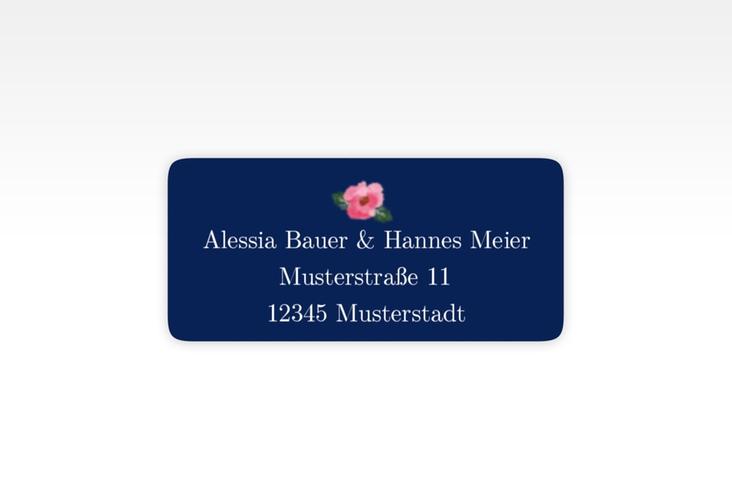 """Absenderetikett Hochzeit """"Fiore"""" 45,7 x 21,2 mm blau"""