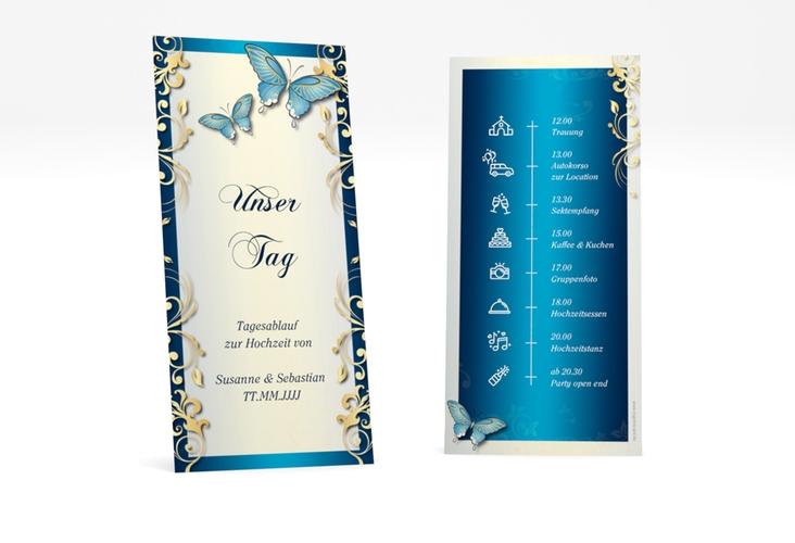 """Tagesablauf Hochzeit """"Toulouse"""" DIN lang hoch blau"""