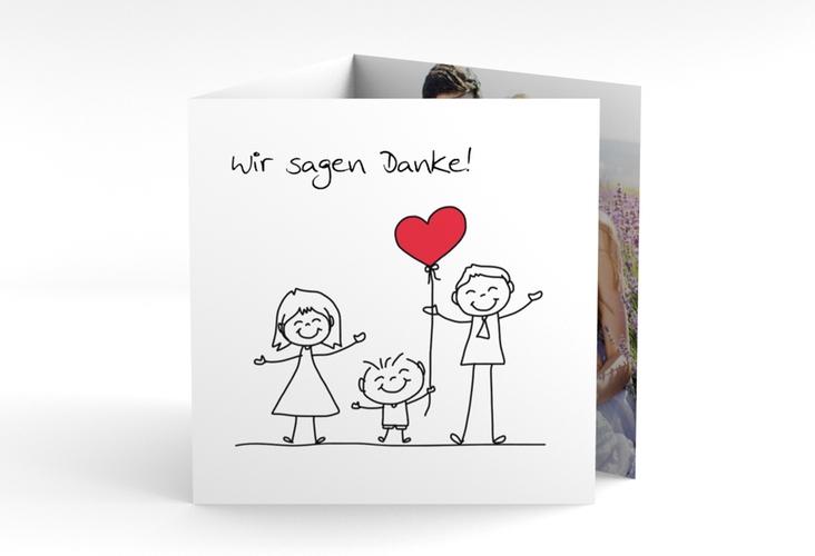 """Dankeskarte Hochzeit """"Family"""" Quadr. Karte doppelt weiss"""