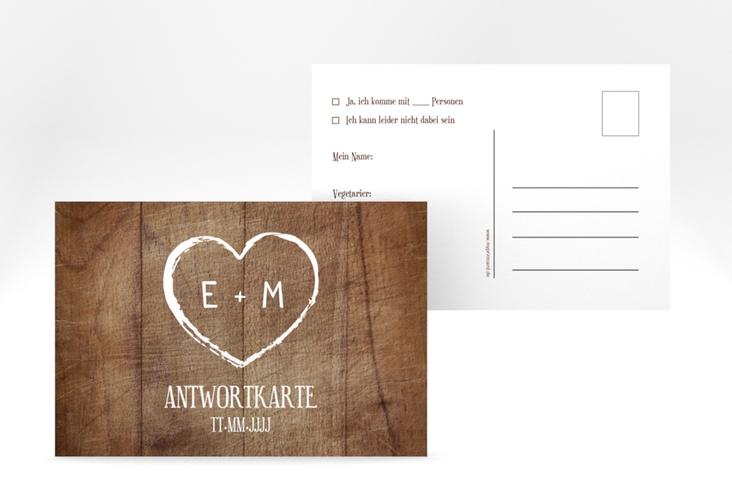"""Antwortkarte Hochzeit """"Wood"""" A6 Postkarte braun"""