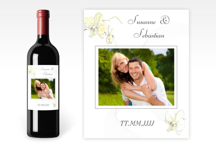 """Weinflaschenetikett Hochzeit """"Modena"""" Etikett Weinflasche 4er Set gelb"""