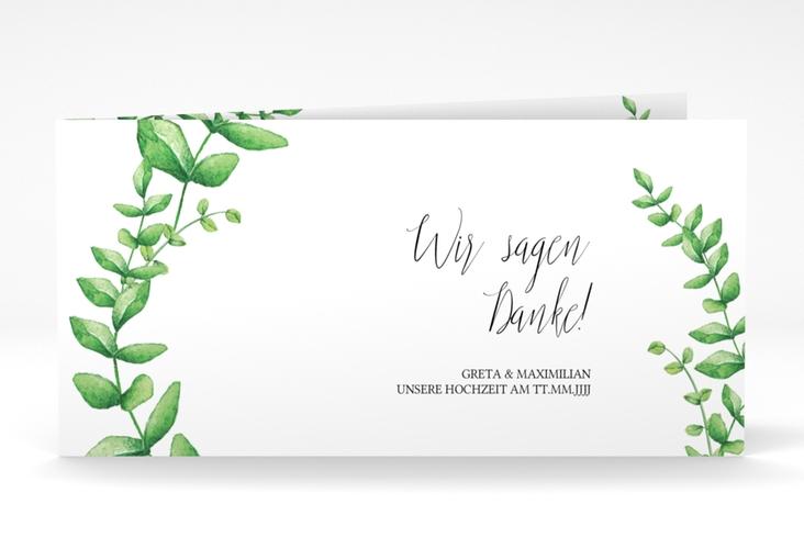 """Danksagung Hochzeit """"Botanic"""" DIN lang Klappkarte weiss"""