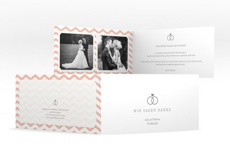 """Danksagungskarte Hochzeit """"Avery"""" DIN lang Klappkarte weiss"""