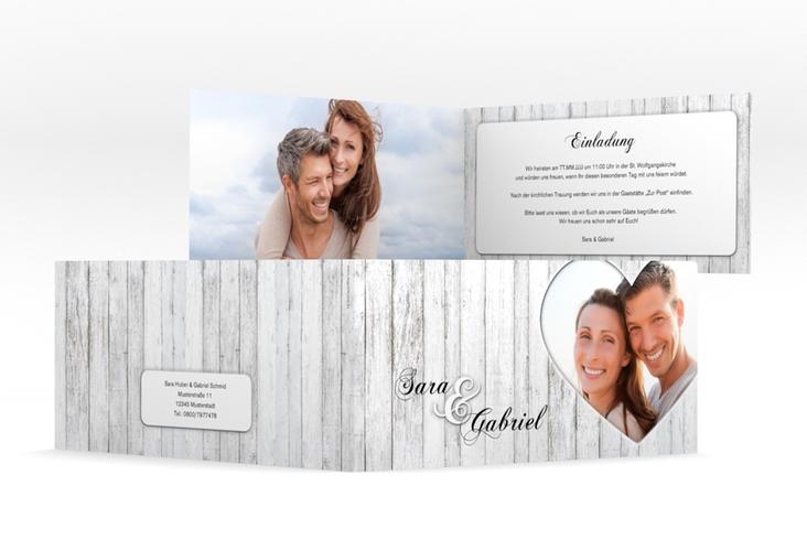 """Hochzeitseinladung """"Herz"""" DIN lang Klappkarte"""