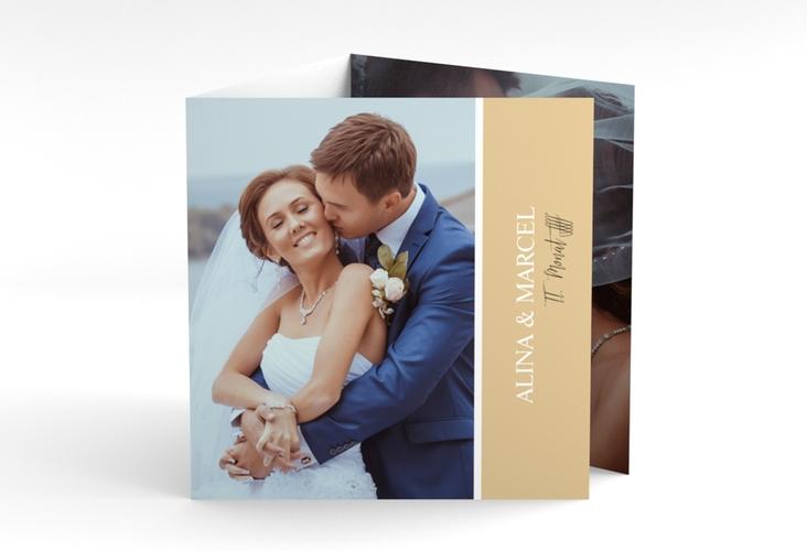 "Dankeskarte Hochzeit ""Classic"" Quadr. Karte doppelt beige"