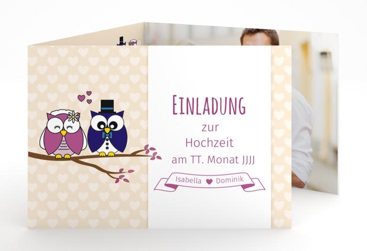 """Hochzeitseinladung """"Eulenliebe"""" A6 doppelt geklappt"""