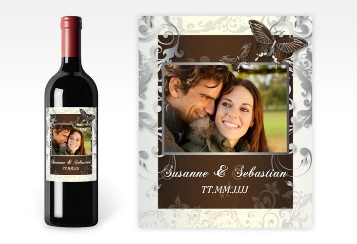 """Weinflaschenetikett Hochzeit """"Toulouse"""" Etikett Weinflasche 4er Set braun"""