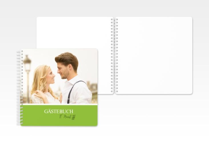 """Gästebuch Hochzeit """"Balance"""" Ringbindung gruen"""