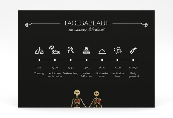 """Tagesablauf Poster Hochzeit """"Bones"""" 70 x 50 cm Poster schwarz"""