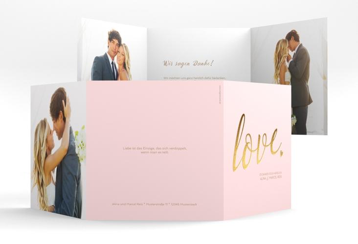 """Dankeskarte Hochzeit """"Glam"""" Quadr. Karte doppelt rosa"""