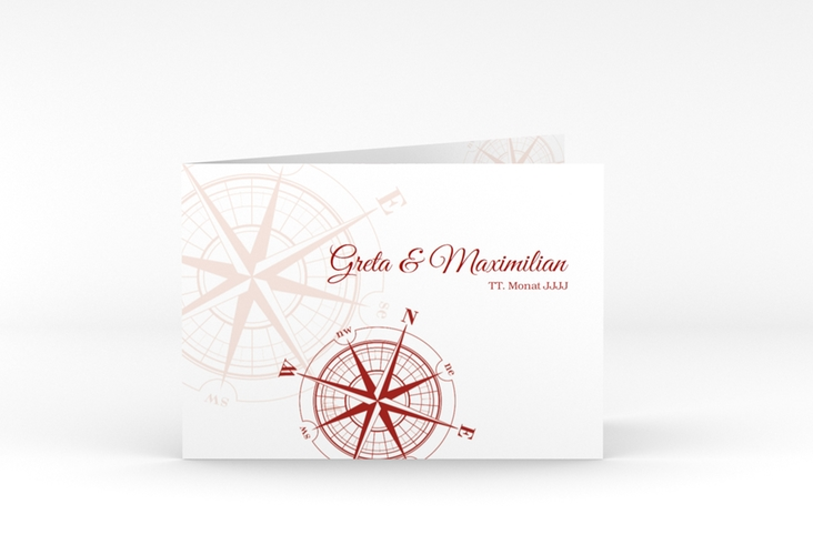 "Dankeskarte Hochzeit ""Windrose"" A6 Klappkarte Quer rot"