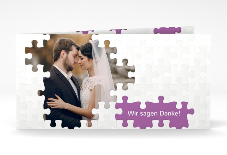 "Dankeskarte Hochzeit ""Puzzle"" DIN lang Klappkarte lila"