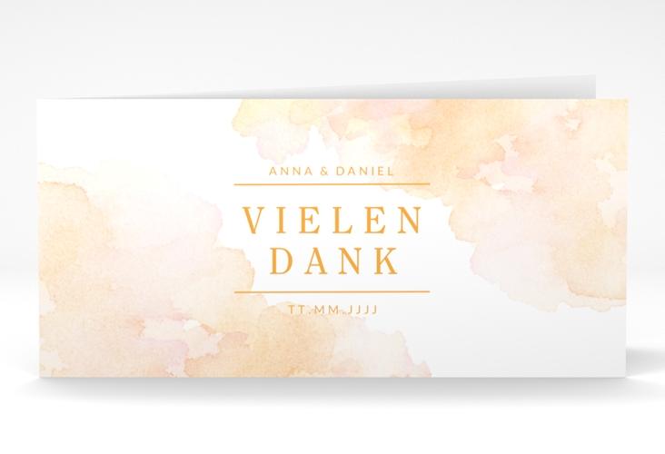 """Dankeskarte Hochzeit """"Blush"""" DIN lang Klappkarte orange"""