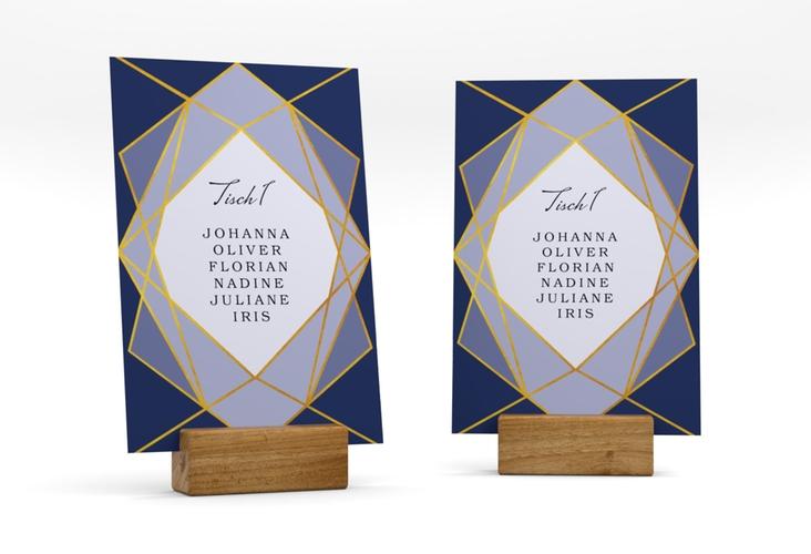 """Tischaufsteller Hochzeit """"Geometric"""" Tischaufsteller blau"""