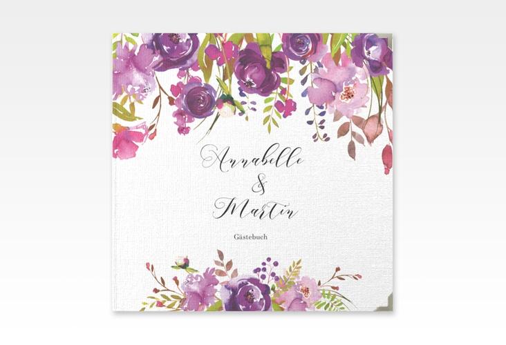 """Gästebuch Selection Hochzeit """"Violett"""" Leinen-Hardcover weiss"""