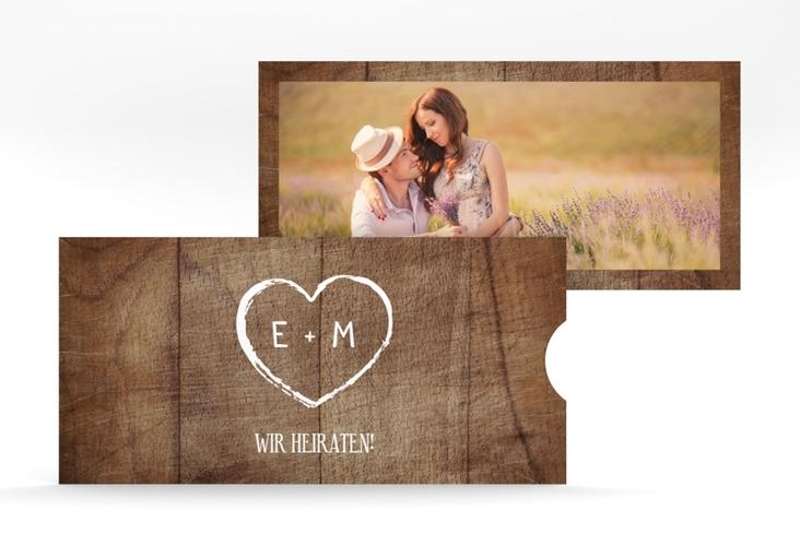 """Hochzeitseinladung """"Wood"""" Einsteckkarte"""
