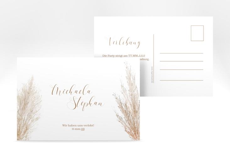 "Verlobungskarte Hochzeit ""Pampasgras"" A6 Postkarte weiss"
