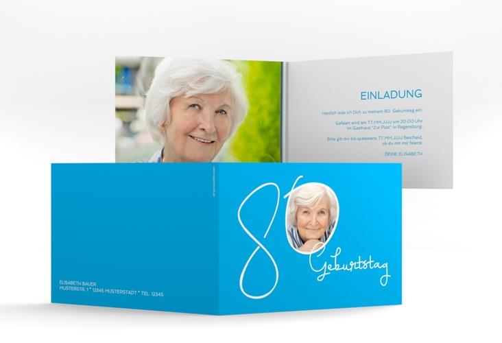 "Einladungskarte ""Swing"" A6 Klappkarte Quer blau"