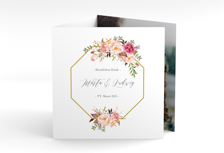 """Dankeskarte Hochzeit """"Prachtvoll"""" Quadr. Karte doppelt"""