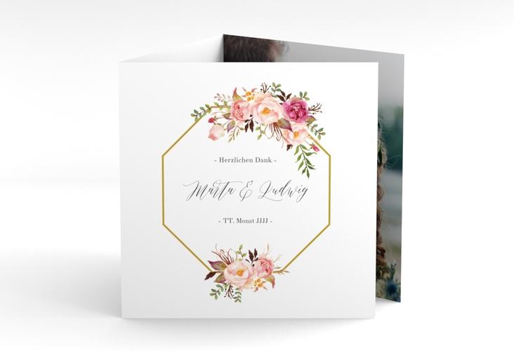 "Dankeskarte Hochzeit ""Prachtvoll"" Quadr. Karte doppelt weiss"
