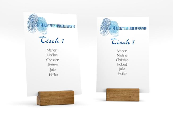 """Tischaufsteller Hochzeit """"Messina"""" Tischaufsteller blau"""