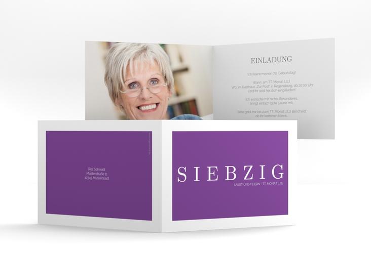"""Einladungskarte """"Schlicht"""" A6 Klappkarte Quer lila"""