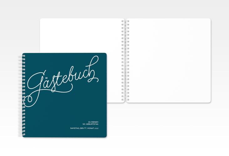 "Gästebuch Geburtstag ""Schwungvoll"" Ringbindung blau"