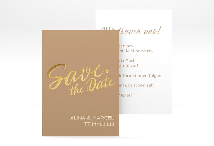 "Save the Date-Visitenkarte ""Glam"" Visitenkarte beige"