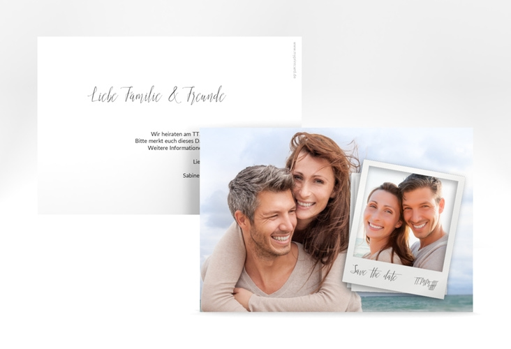 """Save the Date-Karte """"Portrait"""" A6 quer weiss"""