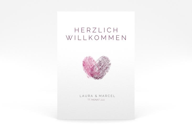 "Willkommensschild Poster ""Fingerprint"" 50 x 70 cm Poster pink"