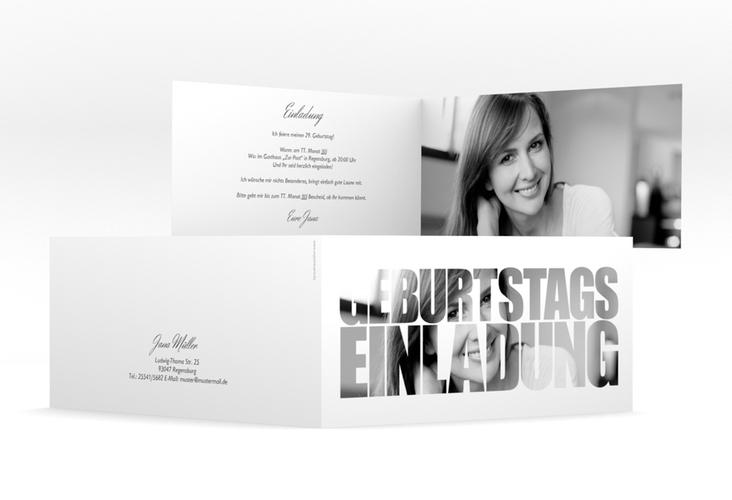 """Einladungskarte """"Jahreszahl"""" DIN lang Klappkarte weiss"""