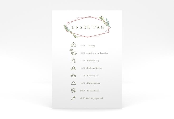 """Tagesablauf Poster Hochzeit """"Herbarium"""" 50 x 70 cm Poster rosa"""