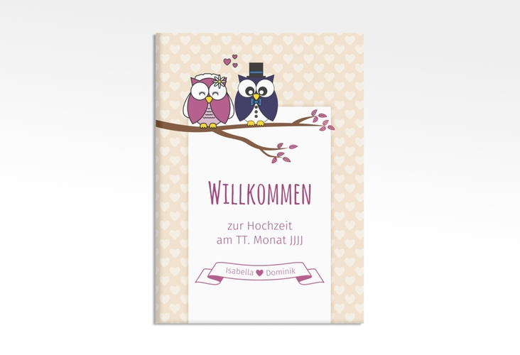 """Willkommensschild Hochzeit """"Eulenliebe"""" 50 x 70 cm Leinwand"""