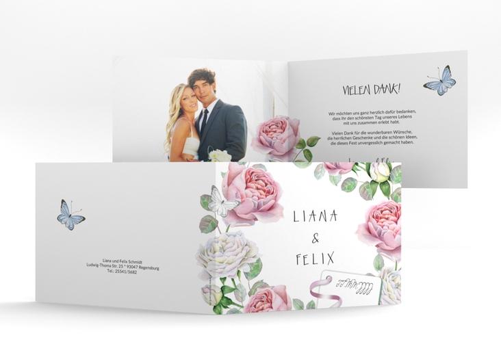 """Danksagungskarte Hochzeit """"Primavera"""" A6 Klappkarte Quer weiss"""