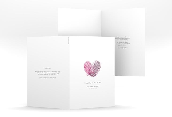 """Kirchenheft Hochzeit """"Fingerprint"""" DIN A5 geklappt pink"""