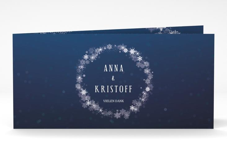 """Dankeskarte Hochzeit """"Winterdream"""" DIN lang Klappkarte blau"""