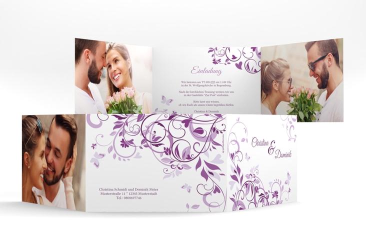 """Hochzeitseinladung """"Lilly"""" A6 doppelt geklappt lila"""