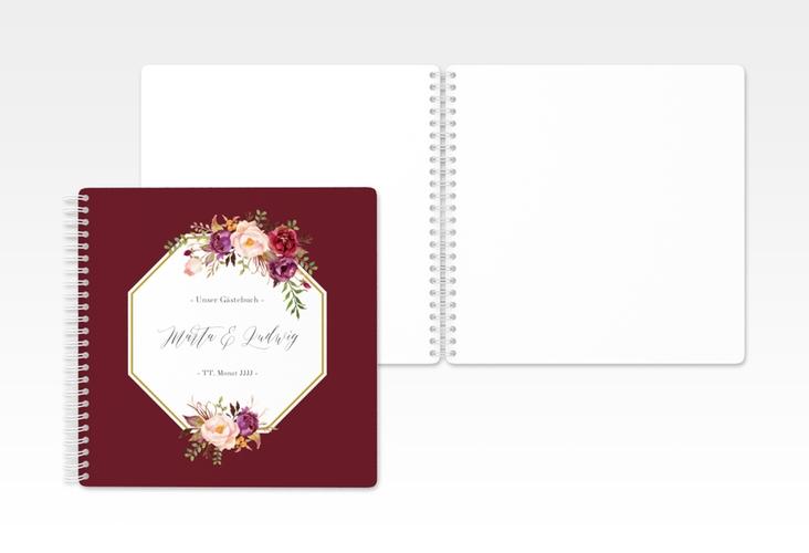 "Gästebuch Hochzeit ""Prachtvoll"" Ringbindung rot"