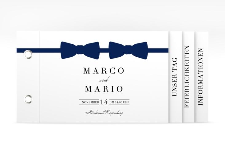 """Hochzeitseinladung """"Suits"""" Booklet blau"""