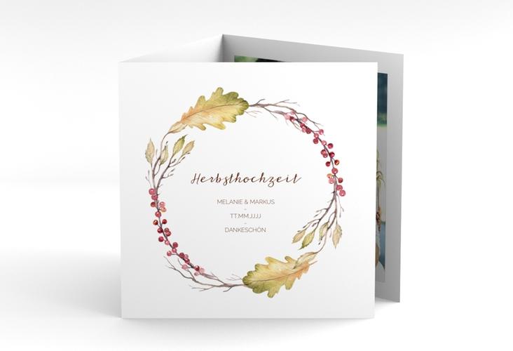 """Dankeskarte Hochzeit """"Herbsthochzeit"""" Quadr. Karte doppelt"""