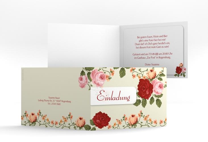 "Einladungskarte ""Rosemarie"" A6 Klappkarte Quer"