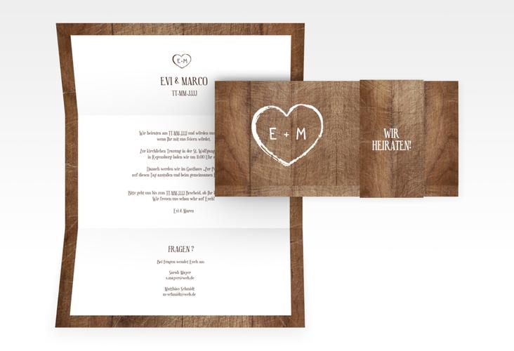"""Hochzeitseinladung """"Wood"""" DIN lang Wickelfalz braun"""