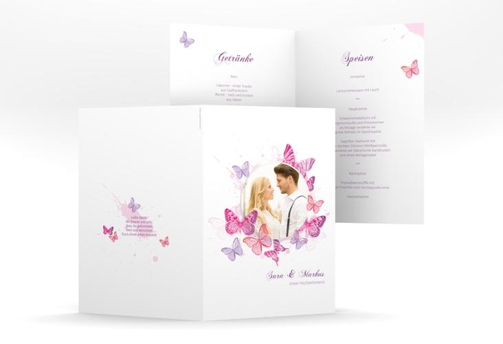 """Menükarte Hochzeit """"Schmetterlinge"""" DIN A5 geklappt"""