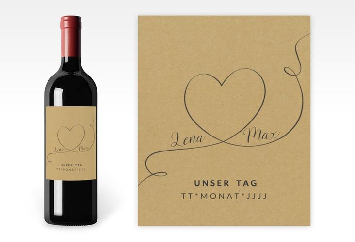 """Weinetikett zur Hochzeit """"Herzensbund"""" Etikett Weinflasche 4er Set"""