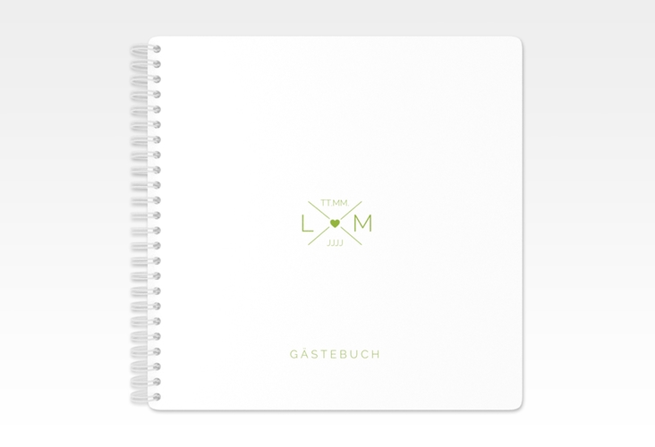 """Gästebuch Hochzeit """"Initials"""" Ringbindung gruen"""