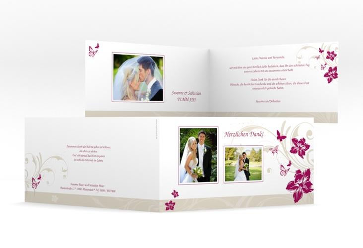 "Danksagungskarte Hochzeit ""Parma"" DIN lang Klappkarte pink"
